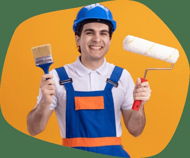 happy man painter
