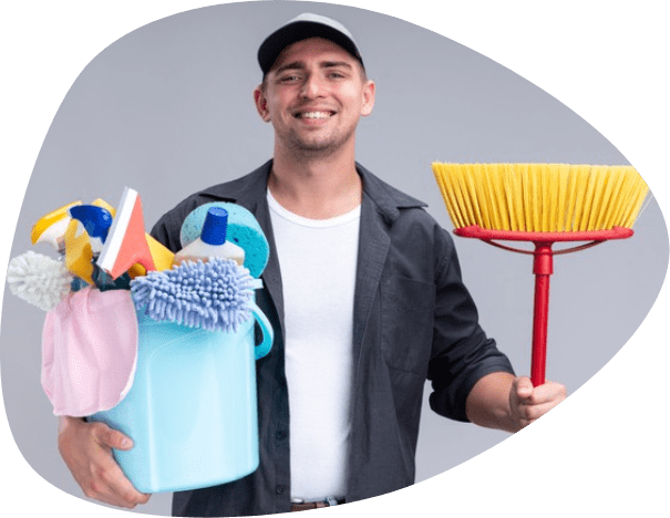 man holding cleaning stuff