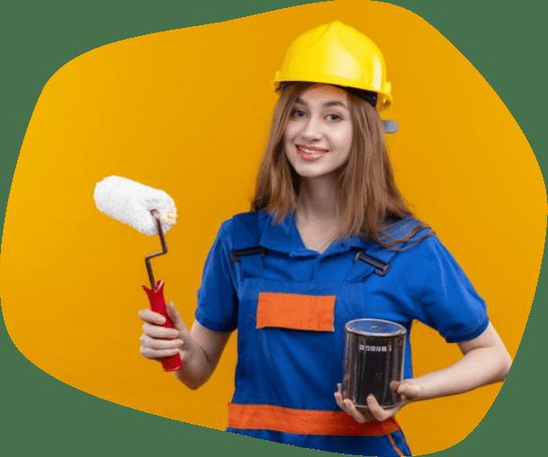 happy painter girl